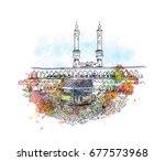 watercolor sketch of mecca in... | Shutterstock .eps vector #677573968