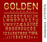 gold colored alphabet  numbers... | Shutterstock .eps vector #677575576
