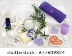 Rosemary Herb Flowers With...
