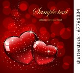 background with red hearts ... | Shutterstock .eps vector #67761334