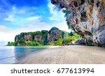 krabi railay bay view asia... | Shutterstock . vector #677613994