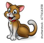 a happy cat mascot cartoon... | Shutterstock .eps vector #677616358