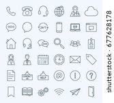 line contact us icons. vector... | Shutterstock .eps vector #677628178