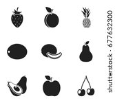 fruits set icons in black style.... | Shutterstock . vector #677632300