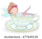 hand drawn beautiful  cute ... | Shutterstock .eps vector #677640118