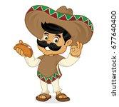 mexican man cartoon holding... | Shutterstock .eps vector #677640400