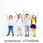 group of happy smiling kids...   Shutterstock . vector #677643544