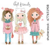 three hand drawn beautiful cute ... | Shutterstock .eps vector #677651908