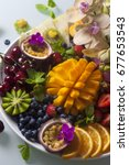 various fresh fruits and... | Shutterstock . vector #677653543