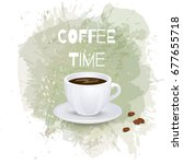 cup of coffee on artistic... | Shutterstock . vector #677655718