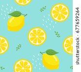 lemon seamless pattern on blue... | Shutterstock .eps vector #677659264