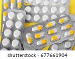 a close up of various pills and ... | Shutterstock . vector #677661904