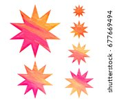 pink and orange painted wood...   Shutterstock . vector #677669494