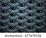 a psychedelic eye pattern... | Shutterstock . vector #677670136