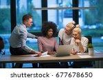 multiethnic startup business... | Shutterstock . vector #677678650