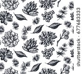 graphic pattern with succulents.... | Shutterstock .eps vector #677683333