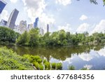 panoramic of central park and... | Shutterstock . vector #677684356