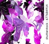 imprints wild lilies seamless... | Shutterstock . vector #677684914