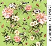 gentle summer pattern with...   Shutterstock . vector #677690524