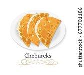 chebureks  fried meat pastries  ... | Shutterstock .eps vector #677701186