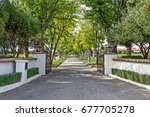 classical winery entrance in... | Shutterstock . vector #677705278