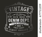 vintage denim print for t shirt ... | Shutterstock .eps vector #677711359