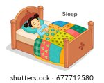 beautiful girl sleeping on a bed   Shutterstock .eps vector #677712580