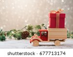 christmas gift box on toy truck ... | Shutterstock . vector #677713174