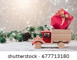 christmas gift box on toy truck ... | Shutterstock . vector #677713180