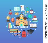 back to school concept set for... | Shutterstock .eps vector #677716450