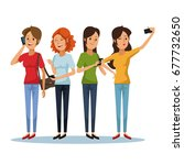 white background with set women ... | Shutterstock .eps vector #677732650