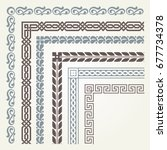 set of decorative seamless... | Shutterstock .eps vector #677734378