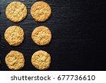 domestic stacked biscuit sweet...   Shutterstock . vector #677736610