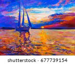 oil painting on canvas. sunset... | Shutterstock . vector #677739154