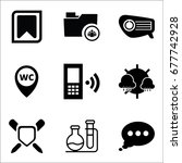 set of 9 miscellaneous icons... | Shutterstock .eps vector #677742928