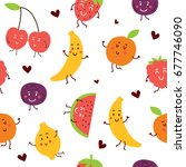 seamless pattern with cute... | Shutterstock .eps vector #677746090