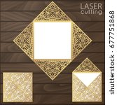 laser cut square envelope with... | Shutterstock .eps vector #677751868