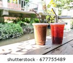 ice espresso coffee and ice... | Shutterstock . vector #677755489