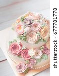 cakes decorated with flowers... | Shutterstock . vector #677781778