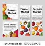 set of organic fruits cards.... | Shutterstock .eps vector #677782978