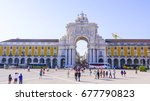 most popular square in lisbon   ... | Shutterstock . vector #677790823
