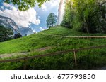 the way to stabbach waterfall... | Shutterstock . vector #677793850