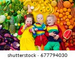 boy  girl and baby with variety ... | Shutterstock . vector #677794030
