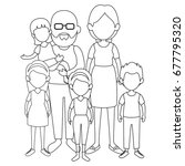 grandparents with kids icon | Shutterstock .eps vector #677795320