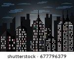 city landscape dark night idea... | Shutterstock .eps vector #677796379