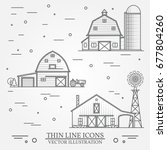 set of thin line american farm... | Shutterstock .eps vector #677804260