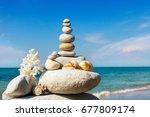rock zen of white stones ...   Shutterstock . vector #677809174