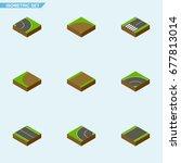 isometric way set of asphalt ...   Shutterstock .eps vector #677813014