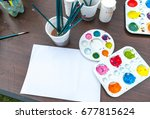 paint and brushes with  close... | Shutterstock . vector #677815624