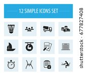 set of 12 editable complicated...   Shutterstock .eps vector #677827408
